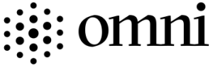 Omni logo. Dots of various size in a hexagon pattern