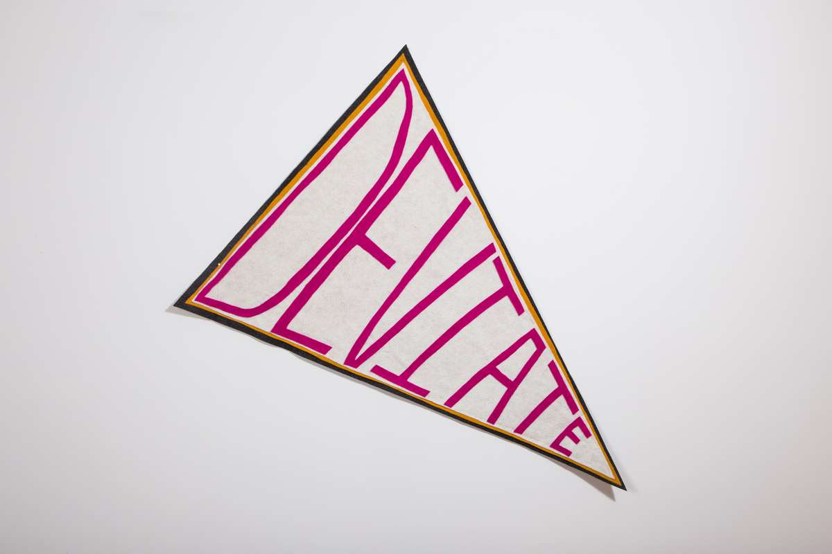 """Close-up image of the triangular bunting flag that says """"Deviate"""" in pink letters on a white background"""