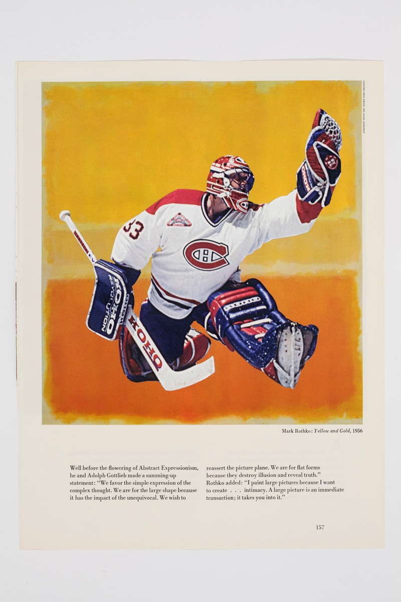 Close-up photo of the image on the far left of the display. The hockey image takes up the top third of the page, showing goalie Patrick Roy wearing a white, red, and blue jersey. Roy is photographed in the act of catching a puck. His image is collaged overtop a reproduction of Mark Rothko's painting entitled Yellow and Gold from 1956. Below the image are two text columns that describes Rothko's painting.