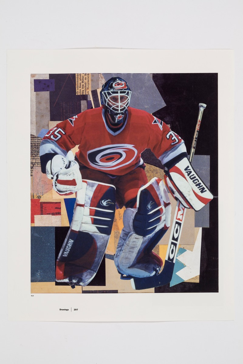 Close-up photo of the image on the far left of the display. The hockey image takes up the top third of the page, showing goalie Tom Barrasso wearing a red, white, and blue jersey. Barrasso's image is collaged overtop a reproduction of a Kurt Schwitters painting.