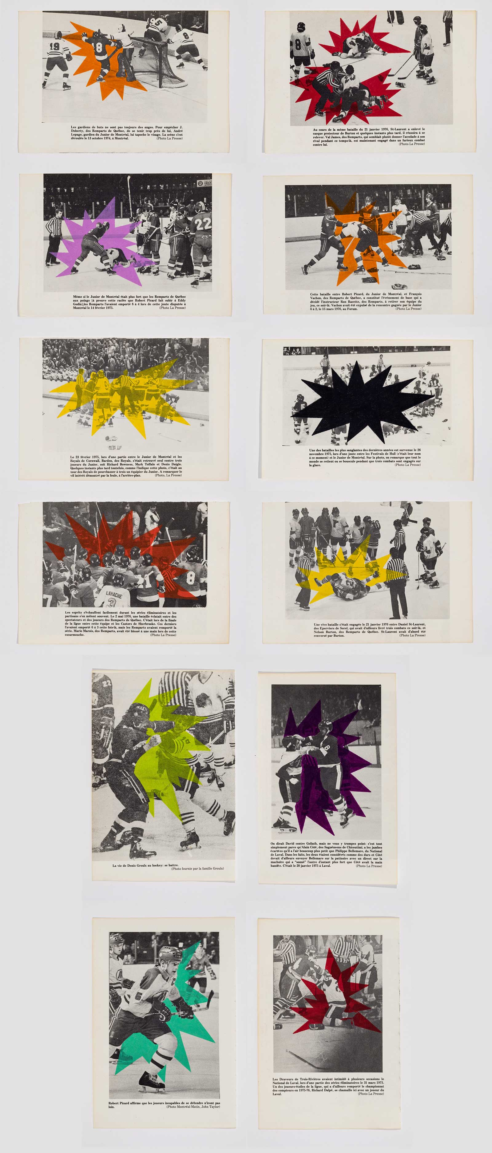 Presented inside a glass vitrine are twelve black and white magazine reproductions of violence and fighting in hockey. Overtop each brawl, the artist has drawn an animated explosion, each in a different bright colour, such as pink, red, yellow, purple, and green. Below each image is a text describing the brawl depicted in the image.