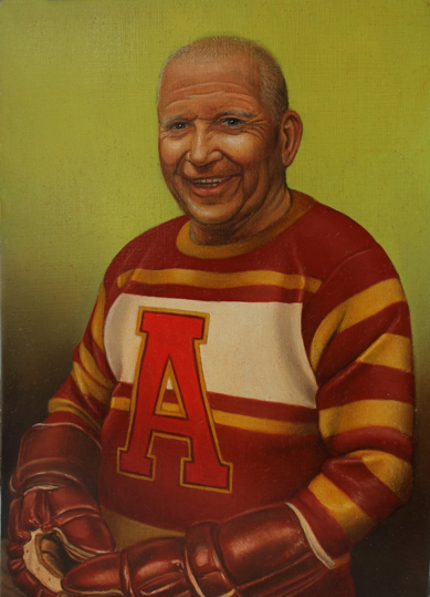 A man is painted in portrait in a jersey with red, yellow, and white stripes and a bright red letter A on the front. He has short white hair and bushy white eyebrows. His mouth is open in a smile, as though he was chuckling, and there are wrinkles around his eyes. He is leaning back casually in his seat. His hands are in red hockey gloves which are folded in his lap. The background is a solid bright yellow-green tint