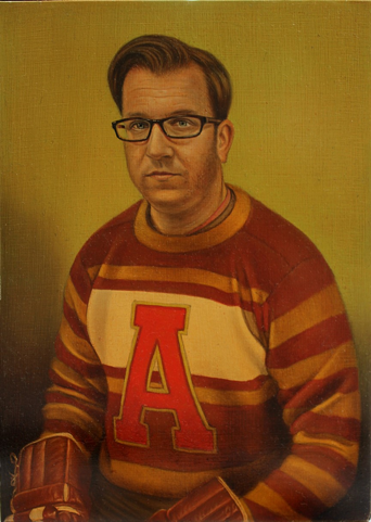 A man is painted in portrait in a jersey with yellow, red, and white stripes and a bright red letter A on the front. His hair is brown and combed over to the left on top of his head. He is wearing black rectangular glasses and his face is rounded and shows signs of stubble. He is staring straight ahead with a serious, if not bored, expression. His hands are in brown hockey gloves which are placed in his lap and barely visible at the bottom of the portrait. The background is a solid olive green tint with shadows of the man over his right shoulder.