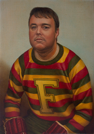 A man is painted in portrait in a jersey with yellow, red, and green stripes and a yellow letter F on the front. He has light brown bangs swooped across his forehead, and the faint shadow of stubble on his face. He is leaning forward to rest his forearms on his thighs, and his head is tilted up and back to gaze straight ahead with a neutral expression. His hands are in red hockey gloves that are barely visible at the bottom of the portrait. The background is a solid grey tint