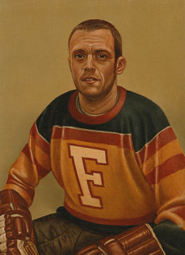 A man is painted in portrait in a jersey with blue, bronze, and mustard yellow stripes with a white letter F on the front. His hair is short, he has a small smile, and his forehead has wrinkles of concern. His hands are in brown hockey gloves and resting on his knees. The background is a solid yellow-green tint.