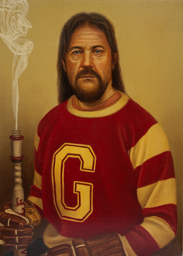 A man is painted in portrait in a jersey with red and white stripes and a white letter G on the front. His hair is long and brown, he has a mustache and goatee, and his gaze is stern and focussed. There is a smoking pipe held in his right hand, resembling an extinguished Olympic torch, and both hands are in brown hockey gloves which are barely visible at the bottom of the portrait. The background is a solid yellow-green tint.