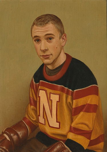 A man is painted in portrait in a jersey with blue, red, and yellow stripes and a white letter N on the front. He has short blond hair and a mole on his left cheek. His eyebrows are slightly raised, adding wrinkles to his forehead in an expression of slight interest. The collar of a dark grey undershirt is visible at the neck of the jersey. His hands are in brown hockey gloves and resting on his legs which are barely visible at the bottom of the portrait. The background is a solid olive green tint.