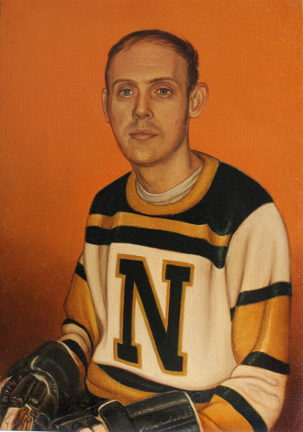 A man is painted in portrait in a jersey with yellow, green, and white stripes and a green letter N on the front. He has short blond hair and the faint outline of a mustache above his upper lip. The collar of a white undershirt is visible at the neck of his jersey. He is staring calmly straight ahead. His hands are in black hockey gloves which are placed in his lap and barely visible at the bottom of the portrait. The background is a solid orange tint