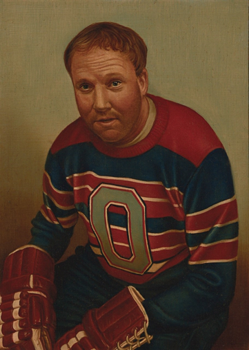 A man is painted in portrait in a jersey with red, blue, and white stripes and the letter O on the front. He has short strawberry blond hair, wrinkles in his forehead from slightly-raised eyebrows, and his mouth hangs open in a relaxed manner. He is slouching forward in his seat, elbows resting on his legs. His hands are in red hockey gloves. The background is a solid grey-green tint