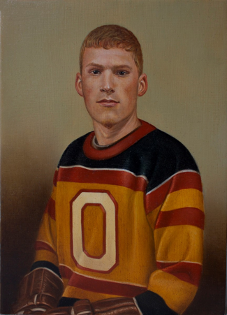 A man is painted in portrait in a jersey with navy blue, red, and yellow stripes and a white letter O on the front. His hair is blond with short bangs, he is clean shaved, and his mouth is closed. His gaze is straight ahead. His hands are in brown hockey gloves which are folded in his lap and barely visible at the bottom of the portrait. The background is a solid grey-brown tint with shadows around the man's shoulders.