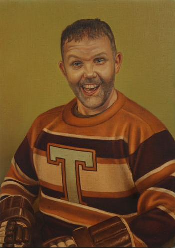 A man is painted in portrait in a jersey with mustard yellow, brown, and cream stripes and the letter T on the front. His hair is short, he has light facial hair, and his mouth is open in a crooked smile. His hands are in brown hockey gloves which are barely visible at the bottom of the portrait. The background is a solid olive green tint