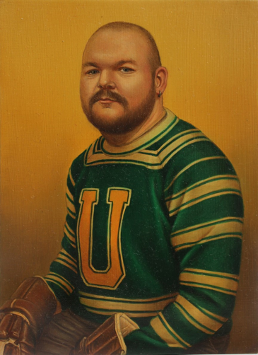 A man is painted in portrait in a jersey with white and green stripes and a yellow letter U on the front. His round head is shaved, and he has a thin beard and mustache. His hands are in brown hockey gloves which rest in his lap, barely visible at the bottom of the portrait. The background is a solid yellow tint.