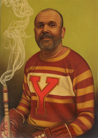 A man is painted in portrait in a jersey with yellow, red, and white stripes and a bright red letter Y on the front. His head is shaved and he has a grey beard and mustache. His mouth is open in a casual smile, and he has wrinkles on his forehead and around his eyes. There is a smoking pipe held in his right hand, resembling an extinguished Olympic torch, and both hands are in brown hockey gloves which are barely visible at the bottom of the portrait. The background is a solid yellow-green tint.