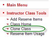 Ares sub-menu containing the clone class link available to instructors