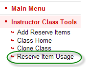 Ares sub-menu containing reserve item usage link available to instructors
