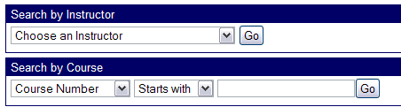 Filter options available to the Ares search classes form