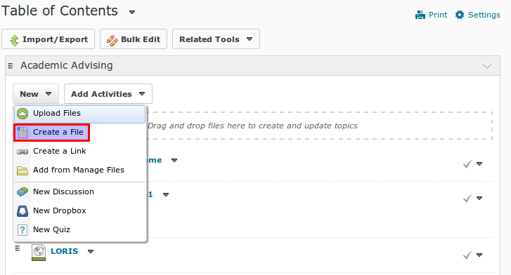 Create a file content link in MyLearningSpace