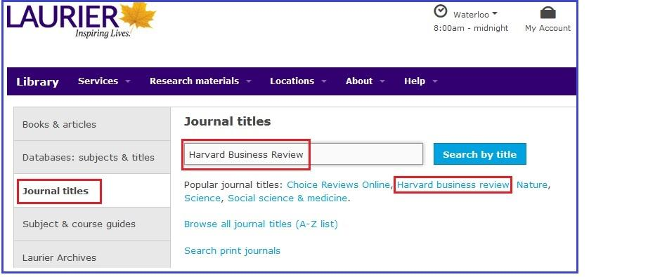 Accessing HBR from the Library Homepage through the Journal titles tab