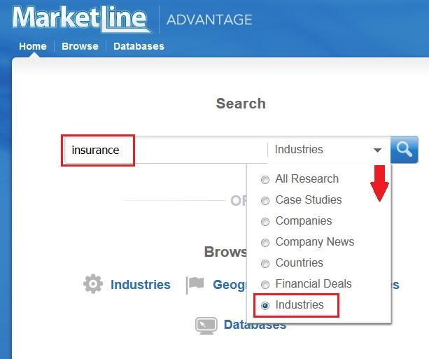 Searching for the insurance industry in Marketline Advantage