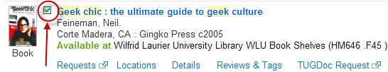 Screenshot showing the check box (top left corner, next to the title) to add a book to the e-Shelf