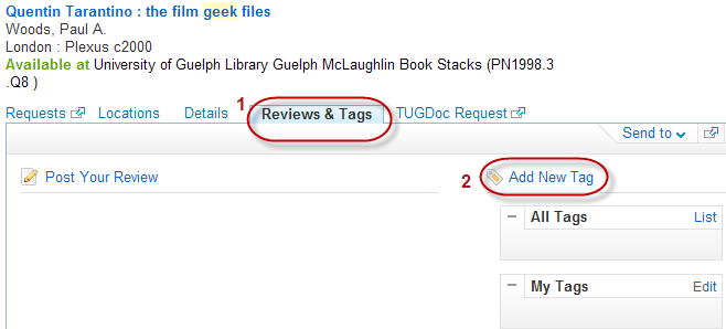 "Highlights the location of the reviews and tags which shows up when a user clicks on a book and ""add new tag"" which appears when users click on the reviews and tags tab"