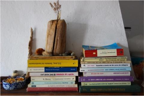A stack of books at home