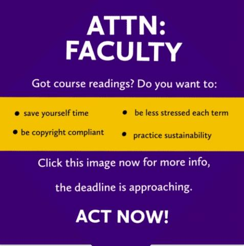 Boldly, attention faculty do you have your course readings ready? Act now. Advice for using course reserve services