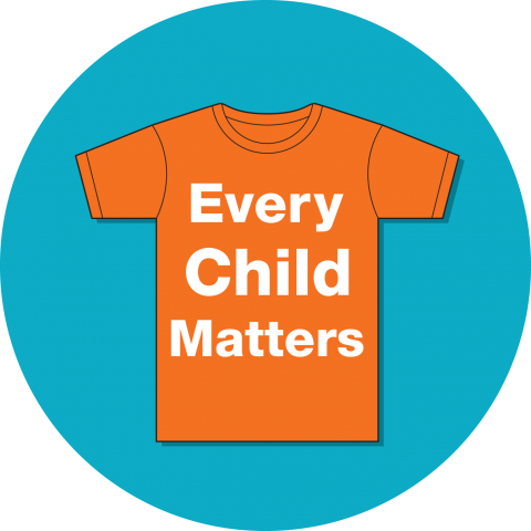 Orange t-shirt with phrase, Every Child Matters