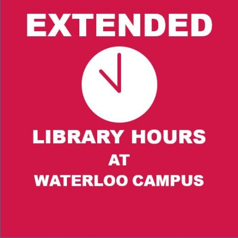 Extended summer library hours at the Waterloo campus starts August 1st