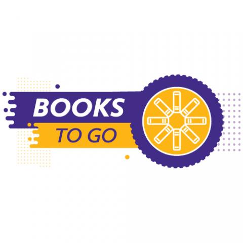 A car wheel in boldly contrasting Laurier colors: Books to Go