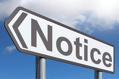 Sign commanding your attention: Notice!