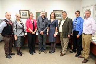 Archives visitors and staff. Minister Miltenberger at far left.
