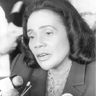 Coretta Scott King, speaking at an antinuclear rally in New York City in June 1982