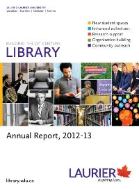 Cover of the 2012-2013 Library Annual Report