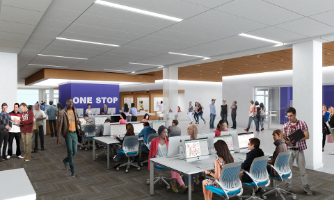 One-stop cafe in the proposed Library